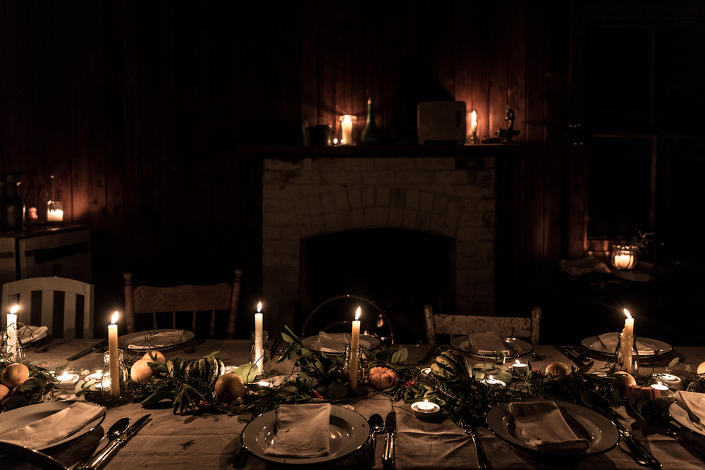 Candlelit dinner in the shearers' quarters