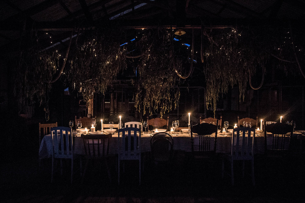 The spectacular welcome dinner in the woolshed, styled by Caitlin Melling