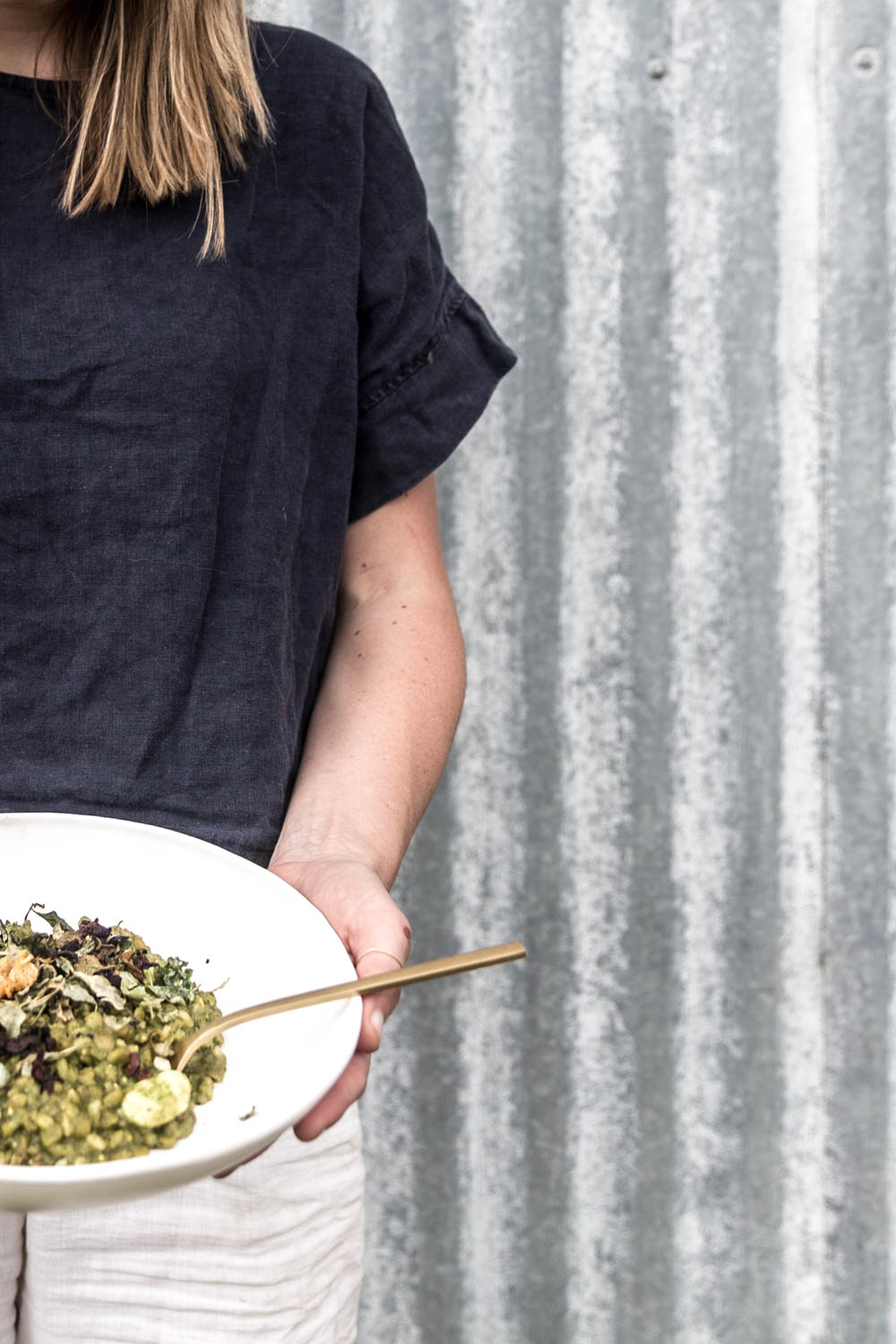 Lean holding the nettle risotto