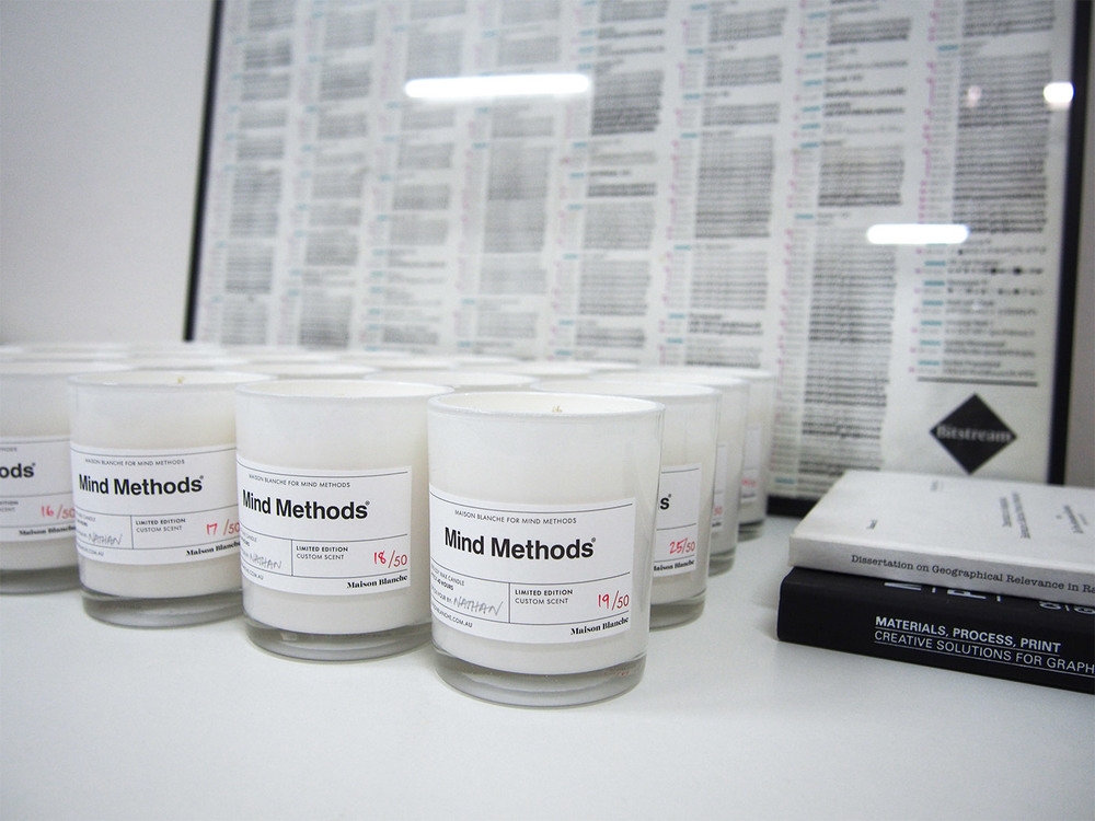 50 Mind Methods limited edition candles at the office ready to be distributed.