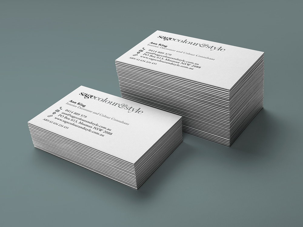 Letterpress business cards on lux stock