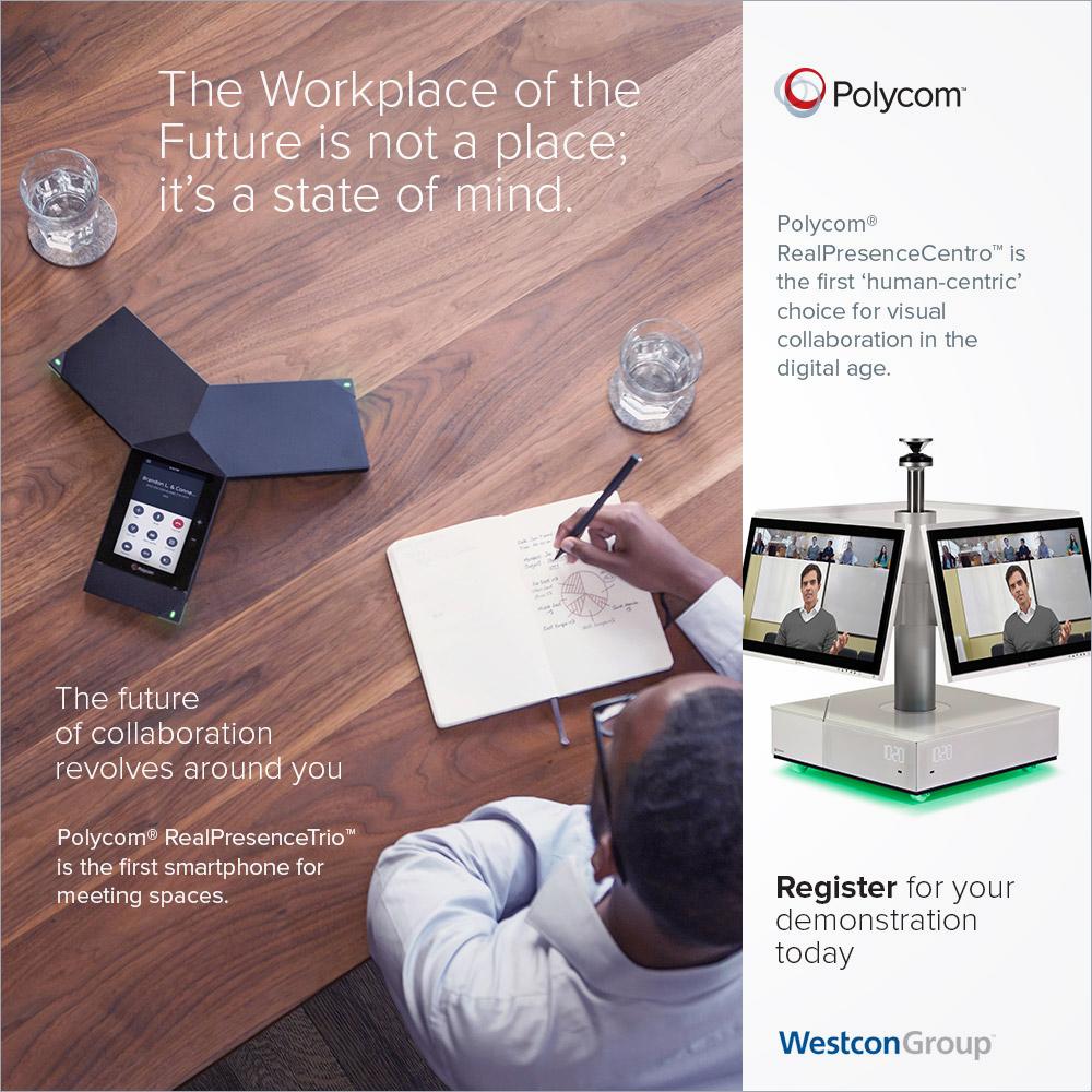 Polycom RealPresence Centro B2B online advertising campaign co-branded