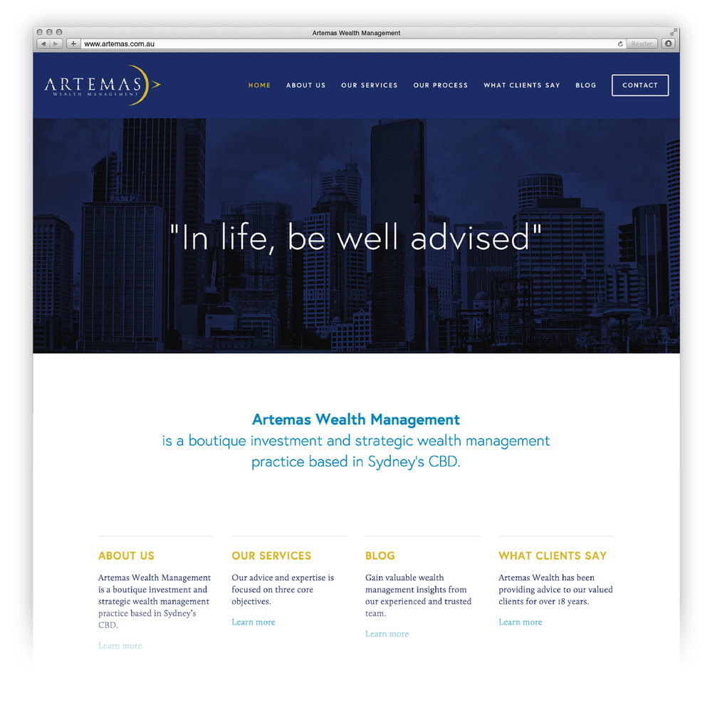 Website redesign for Artemas Wealth.
