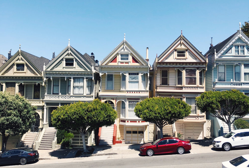 Full House:  The 'Painted Ladies' across from Alamo Square Park, San Francisco.