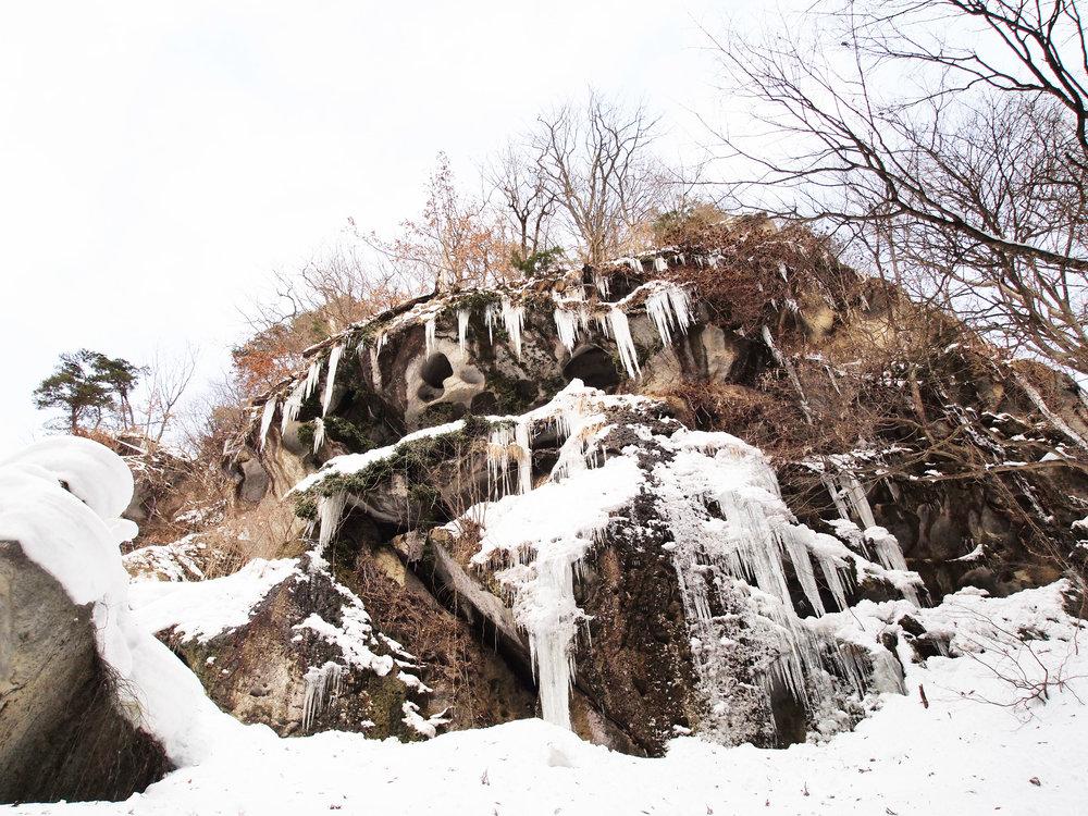Beautiful rock formations on the trail to Risshaku-ji Temple, Yamagata.