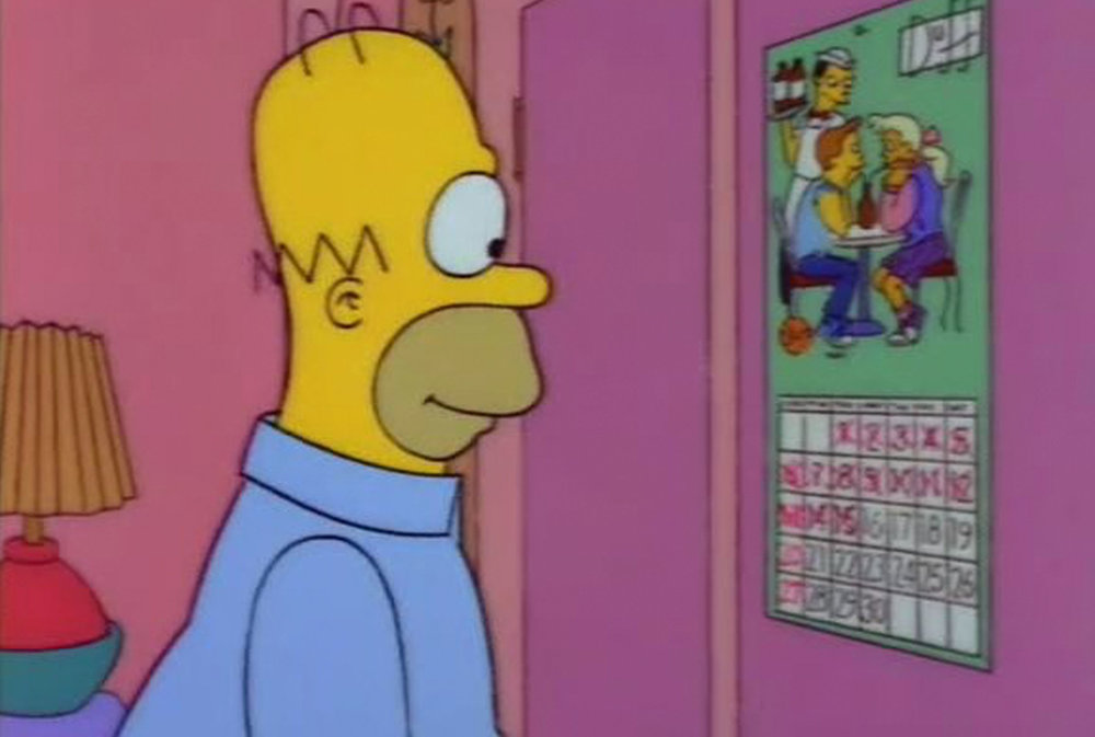 When Homer gave up beer he was aided by a Duff Beer calendar to mark the days he didn't drink.