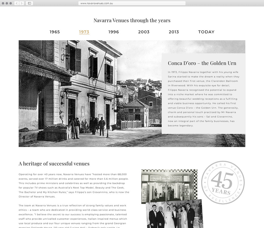 New history page with timeline slideshow