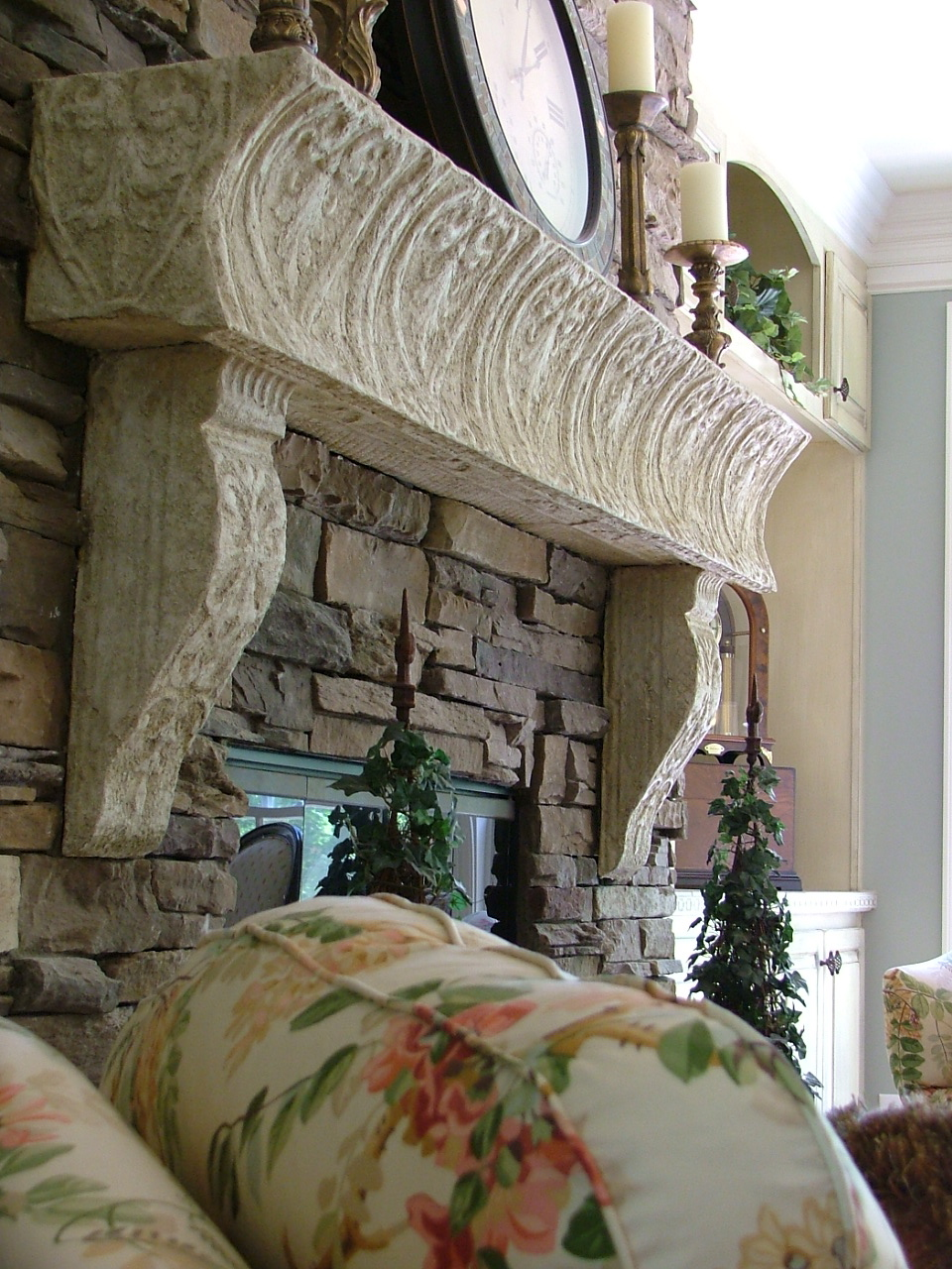 Faux Stone Fireplace Mantel