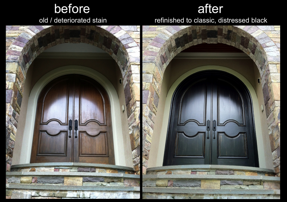 Refinished Front Doors Classic Black