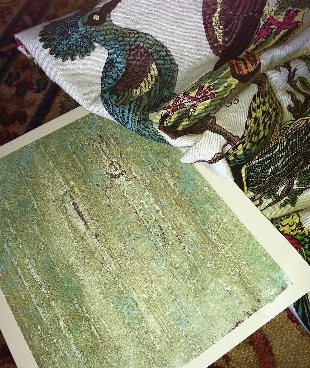 This custom Old World Mediterranean finish was developed specifically for the fabric selection. Notice how the cracks open to hint at the fabric's cranberry and brown tones, while the blue/green accents reflect the bird feathers. Over all mid-tones are transposed a neutrals and olive tones.
