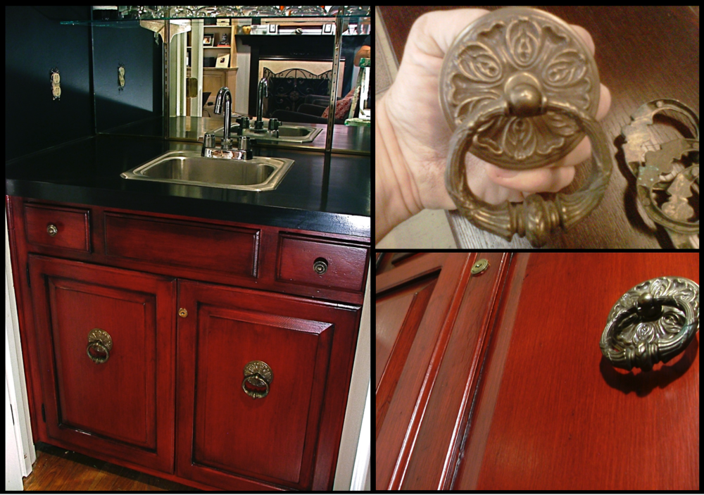 """I don't have a """"before"""" image of this wet bar, but it was just basic cabinetry.We found thesekiller drop-pull medallions at  Mary's Antiques  in downtown Greensboro."""