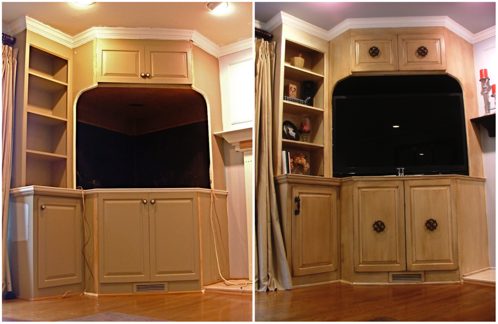 Another section of built-in cabinetry from the same room as above took on more of an armoire feel when we added the large medallion pulls to the center of the doors. This hardware was also found at Hobby Lobby.
