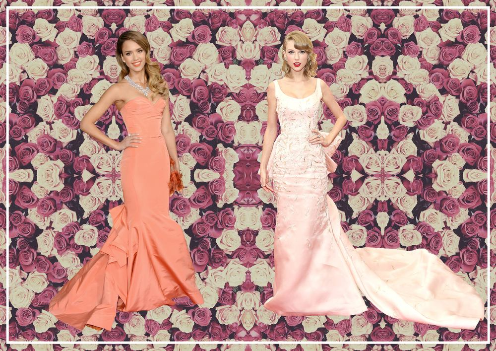 Jessica Alba in Oscar de la Renta  Taylor Swift in Oscar de la Renta