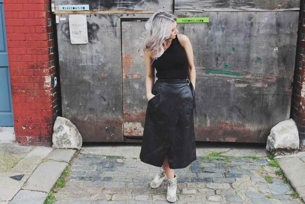 WRAP LEATHER SKIRT — NORTHERN MAGPIE