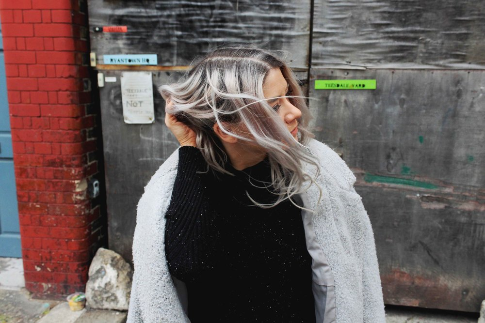 SILVER HAIR, URBAN OUTFITTERS POLO TOP