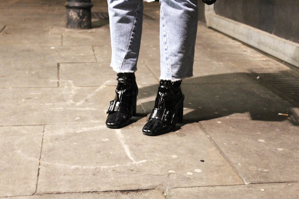 RIVER ISLAND PATENT LEATHER BOOTS CUT OFF TOPSHOP JEANS NORTHERN MAGPIE