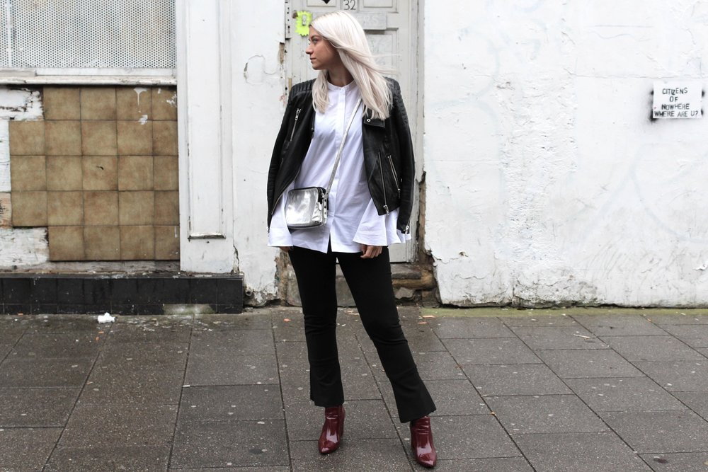 ASOS WHITE SHIRT FLUTED TROUSERS SILVER HANDBAG NORTHERN MAGPIE