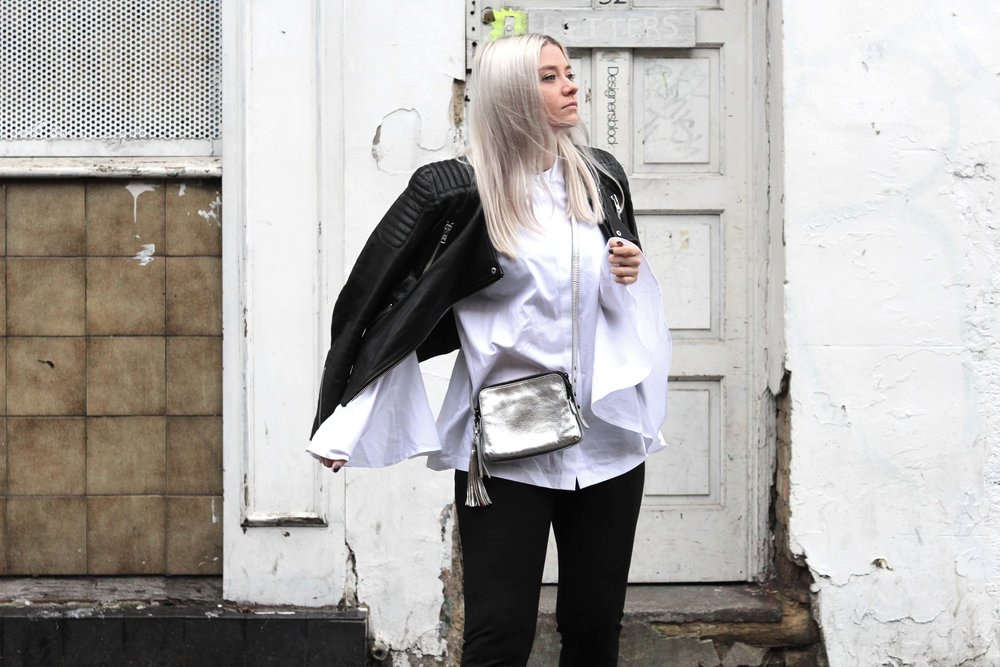 SILVER BAG AND WHITE FLUTED SHIRT NORTHERN MAGPIE