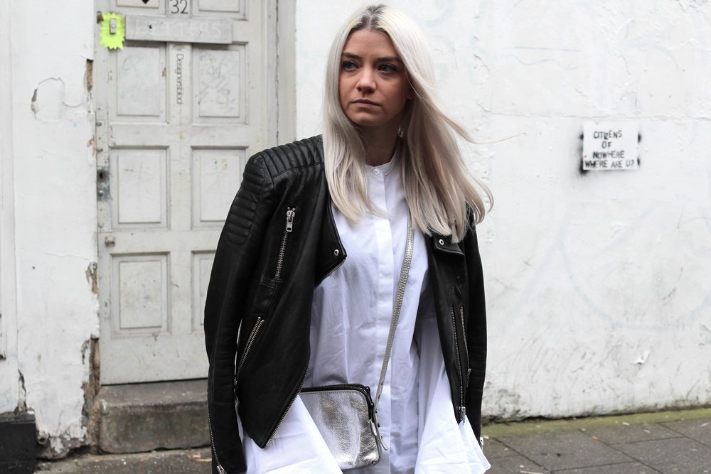 LEATHER JACKET WHITE SHIRT AND SILVER BAG NORTHERN MAGPIE