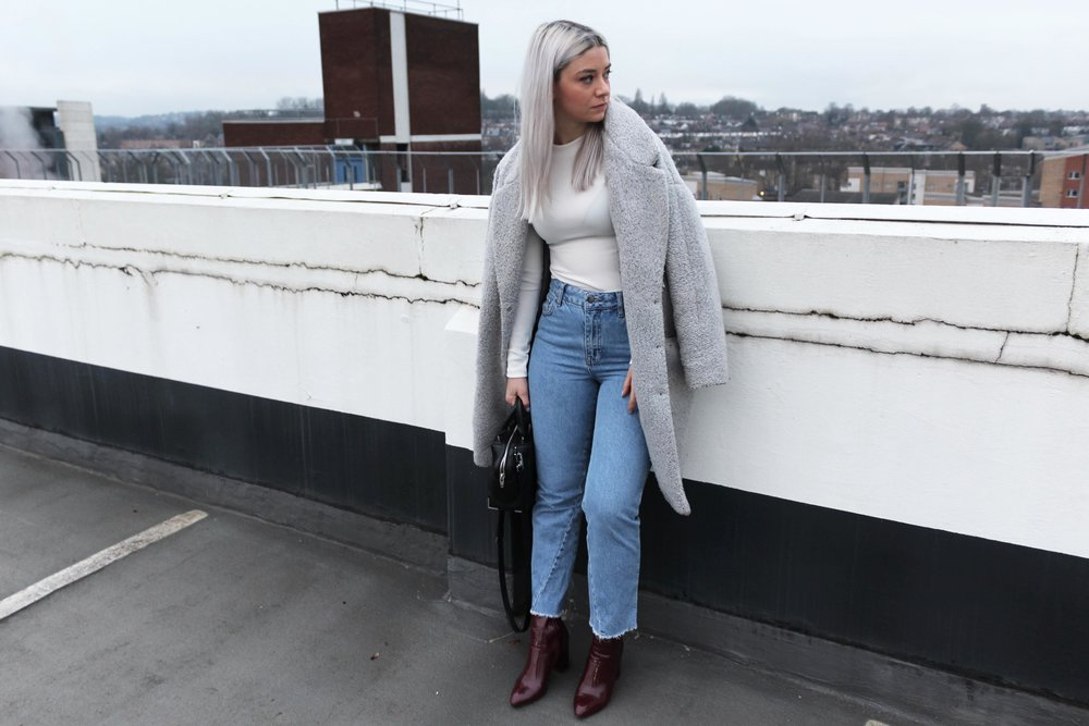 grey coat topshop jeans sock boots joey taylor northern magpie