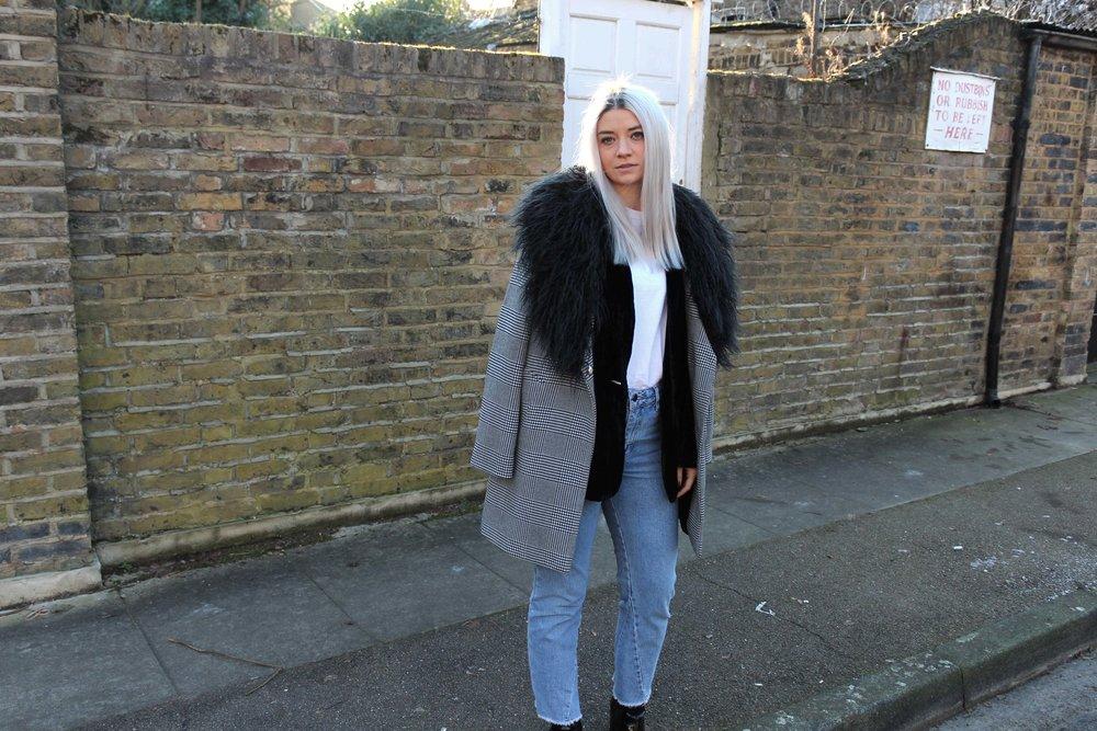 northern magpie, fur trim coat, topshop jeans, velvet blazer