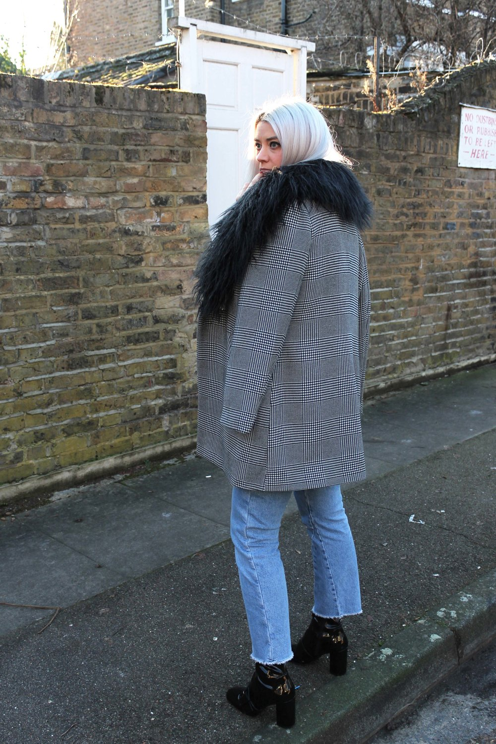 northern magpie, topshop jeans, fur trim coat, houndstooth print