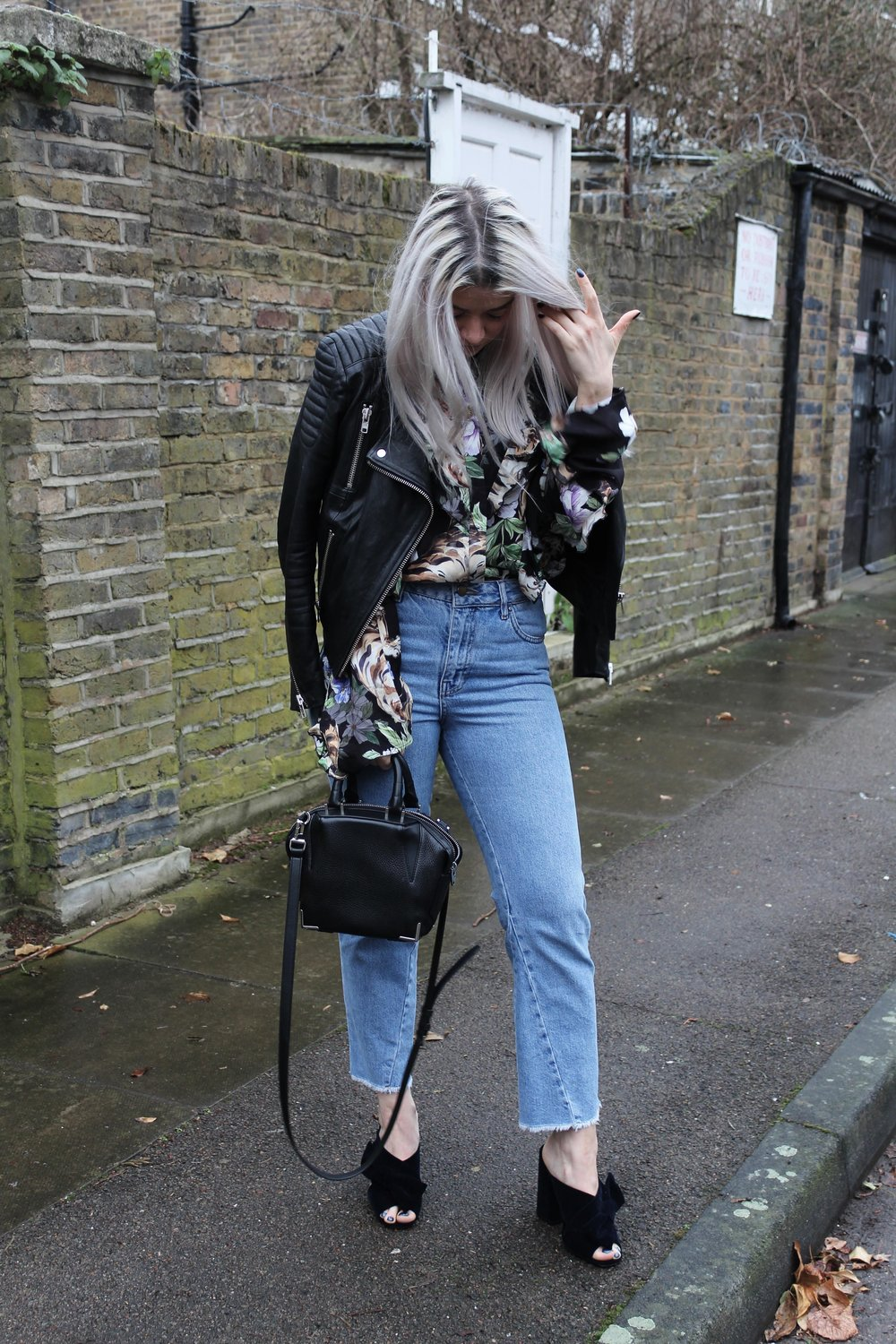 topshop jeans, velvet mules, printed ruffle shirt, leather jacket