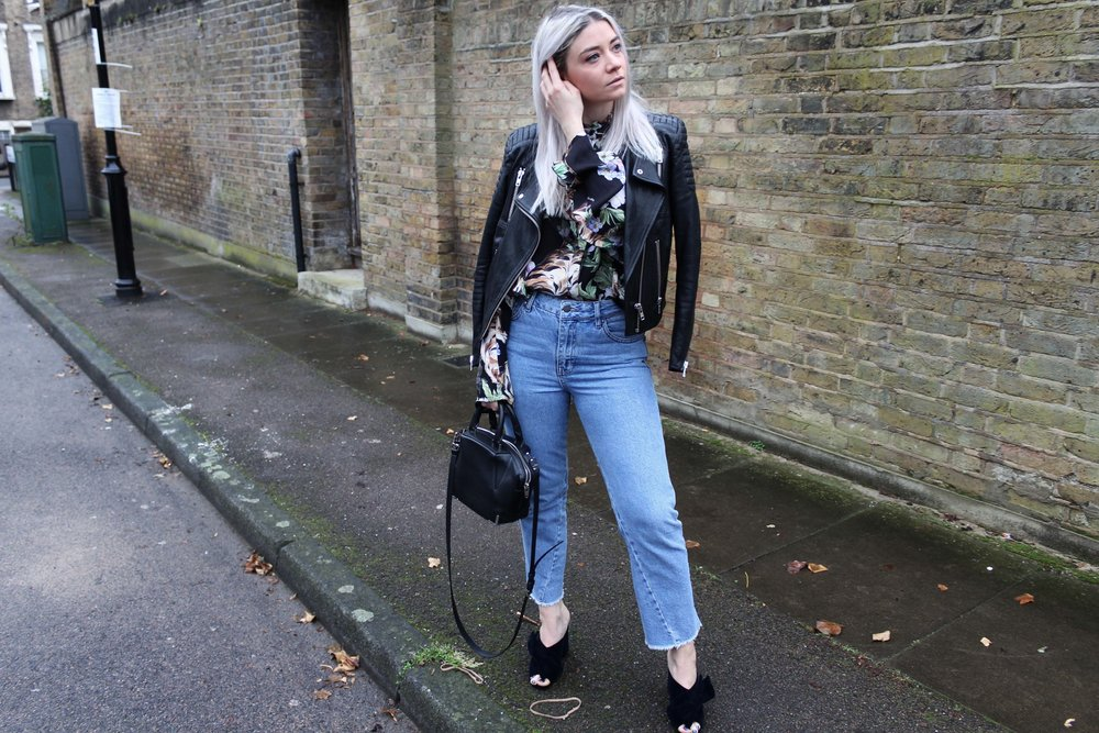 black leather biker jacket, northern magpie, velvet mules, topshop jeans