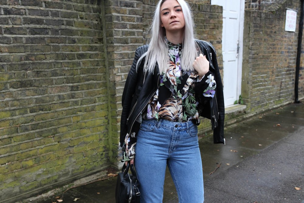 printed ruffle shirt, leather biker jacket, topshop jeans