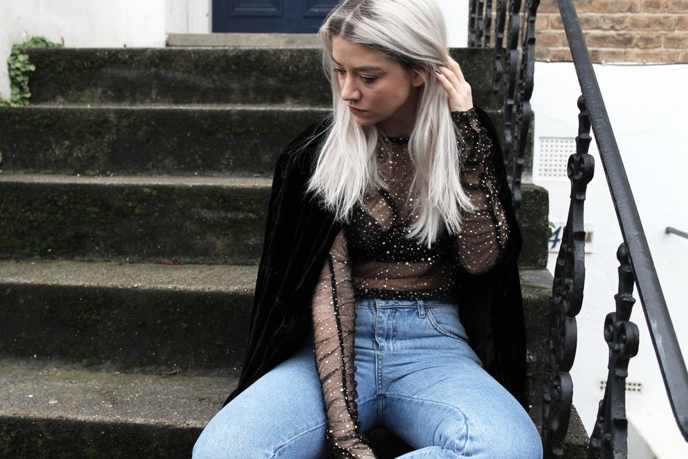 mesh top, topshop jeans, northern magpie