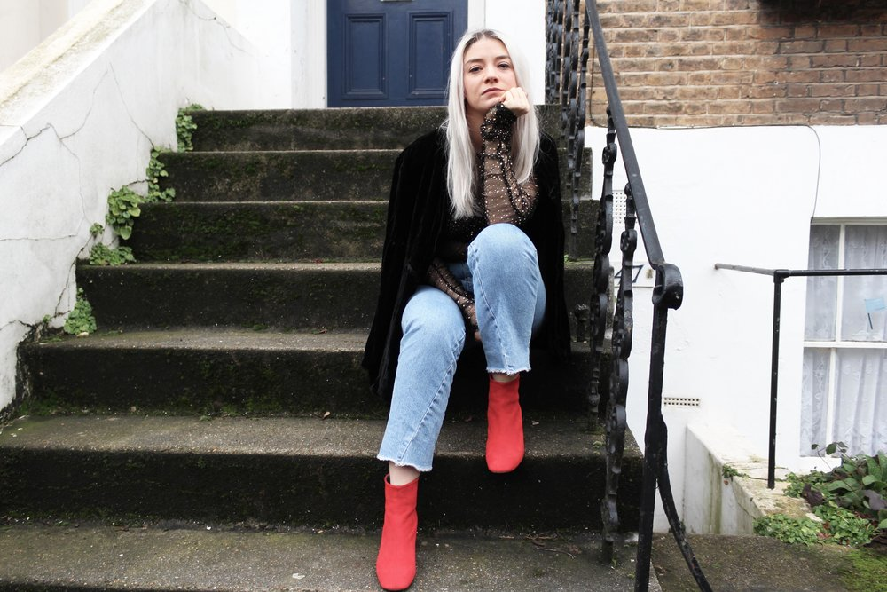 red suede boots, topshop raw edge jeans, velvet blazer, fashion outfit, northern magpie