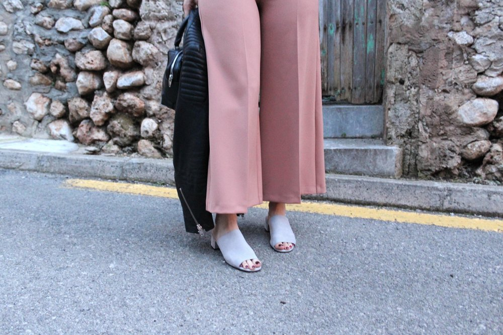 grey mules, topshop, wide leg topshop culottes, northern magpie