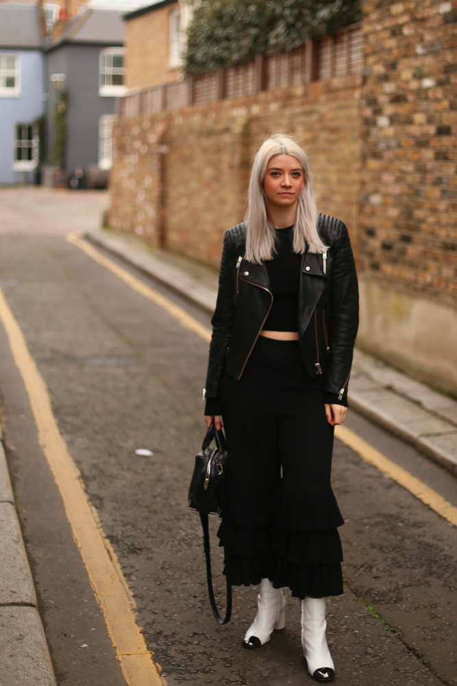 BLACK FRILL TROUSERS, BLACK LEATHER BIKER JACKET, JOEY TAYLOR, NORTHERN MAGPIE