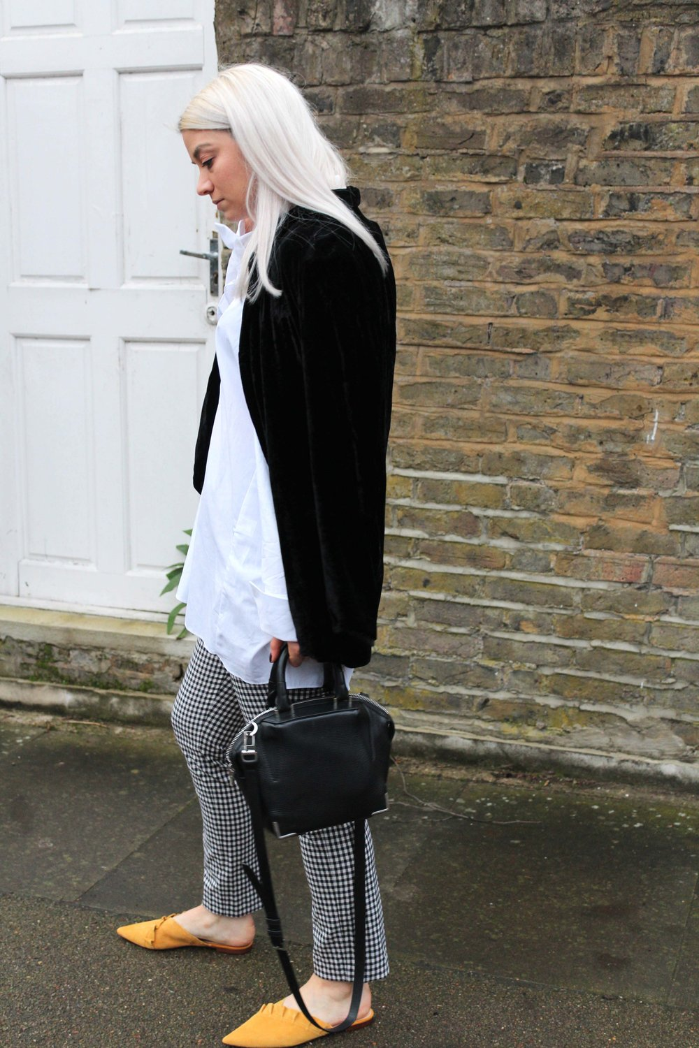 gingham trousers, white shirt, velvet blazer, mules, joey taylor, northern magpie