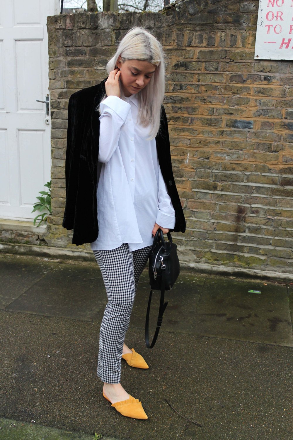 over sized white shirt, gingham trousers, joey taylor, velvet blazer, northern magpie
