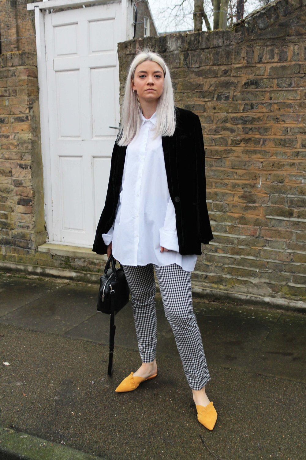 suede mules, oversized white shirt, gingham trousers, velvet blazer, joey taylor, northern magpie