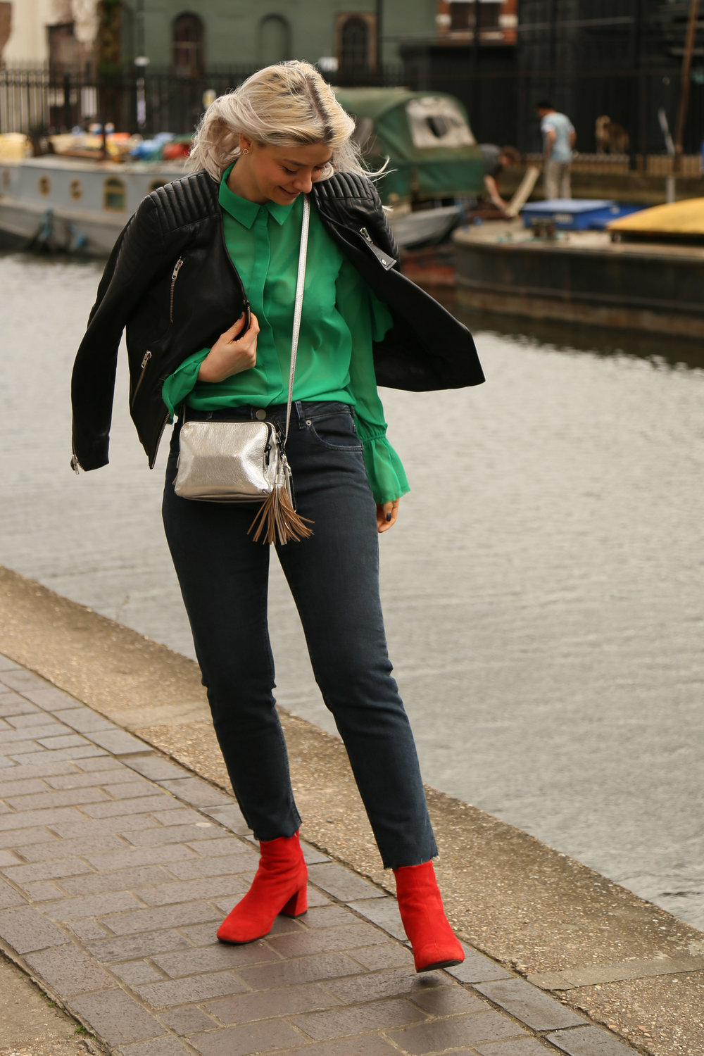 colour blocking, green shirt, raw edge jeans, red boots, silver bag, northern magpie, joey taylor