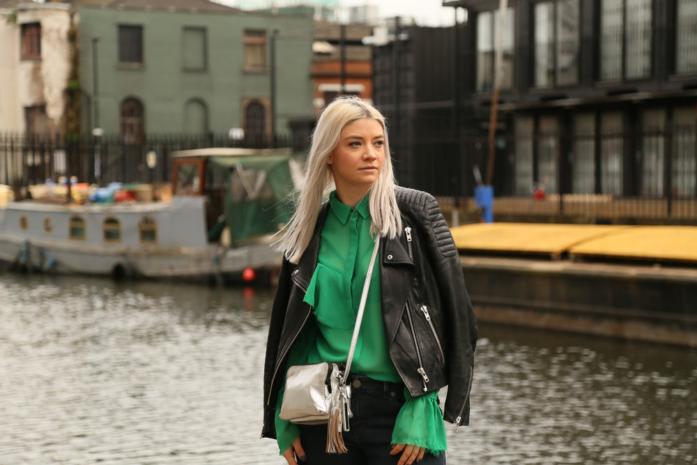 green ruffle shirt, asos jeans, silver bag, northern magpie, joey taylor