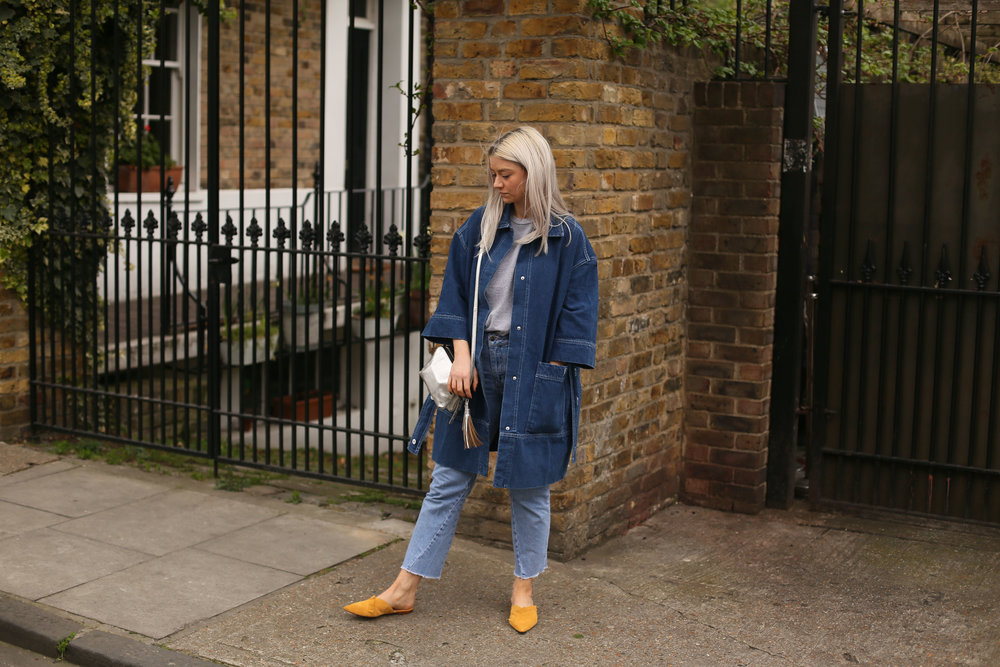 denim long line jacket, grey t-shirt, slip on mules, northern magpie, joey taylor