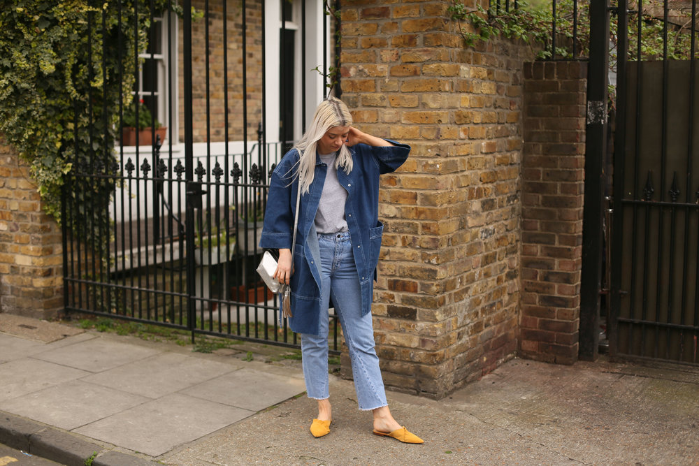 grey t-shirt, denim long jacket, asos white, northern magpie, joey taylor