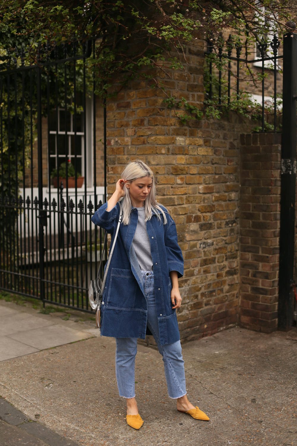 slip on mules, denim long line jacket, double denim, northern magpie, joey taylor, asos white