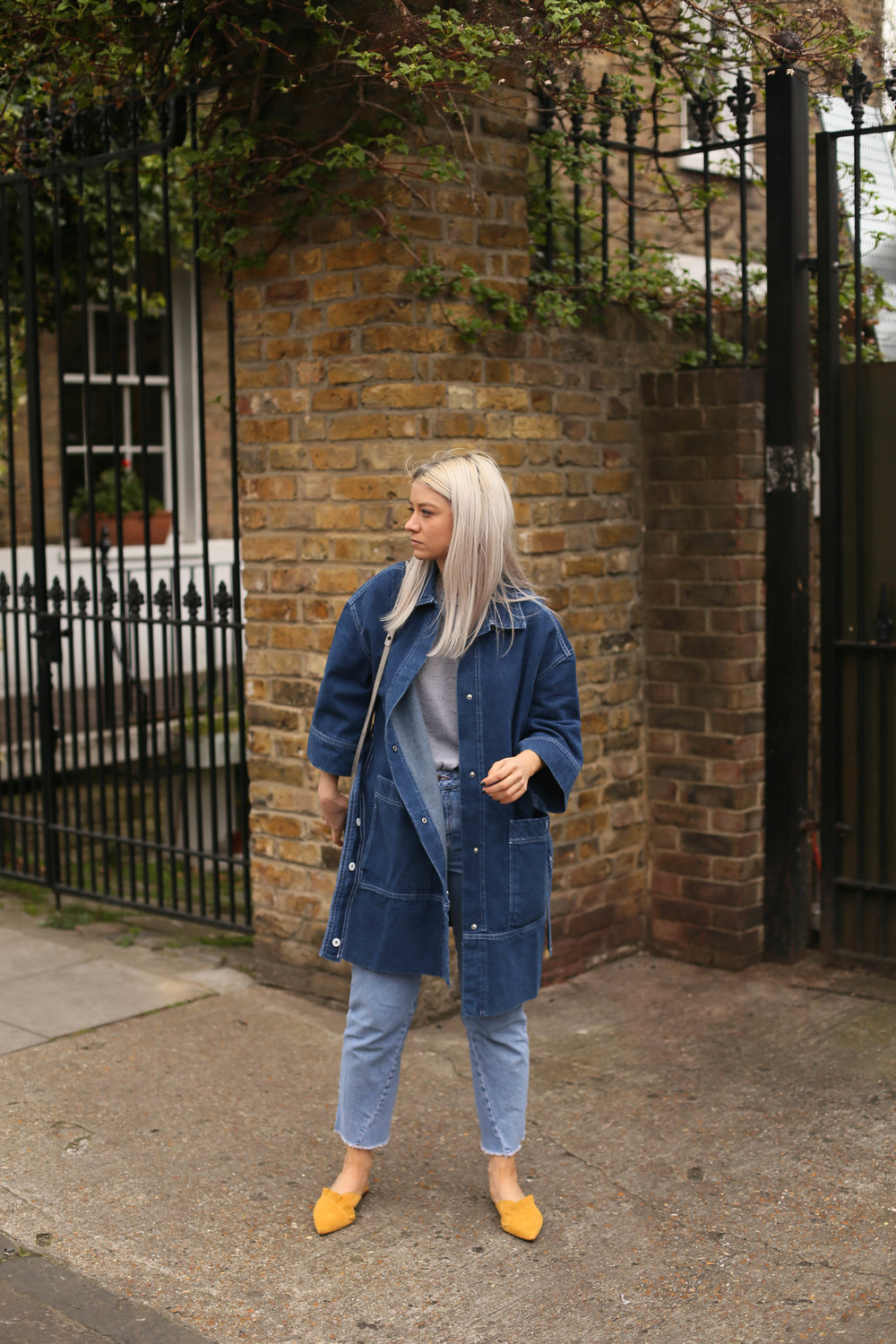 slip-on mules, asos white, double denim, denim longline jacket, northern magpie, joey taylor