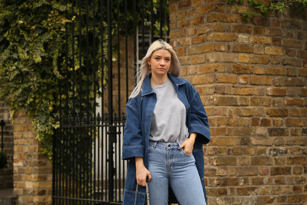 grey t-shirt, double denm,, asos white, denim jacket, northern magpie, joey taylor