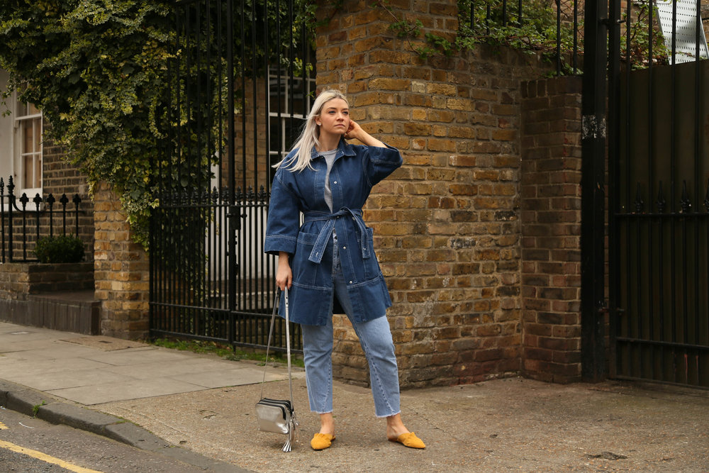 denim longline jacket, asos white, northern magpie, slip-on mules, joey taylor