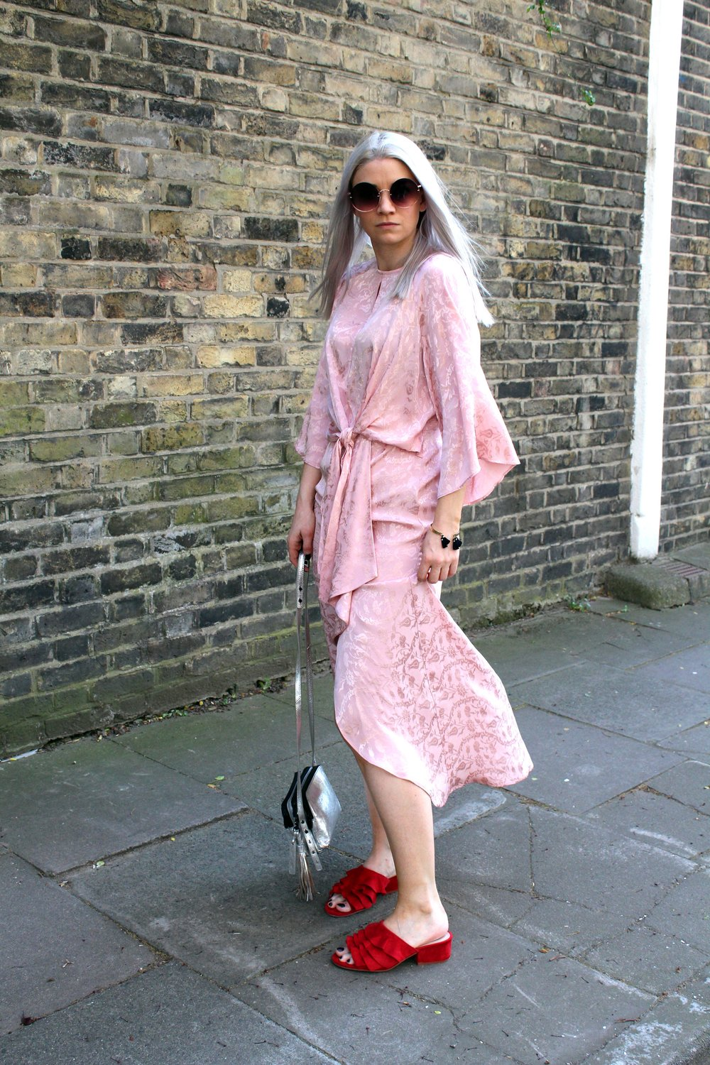 round sunglasses, pink midi wrap dress, northern magpie, joey taylor, red ruffle mules