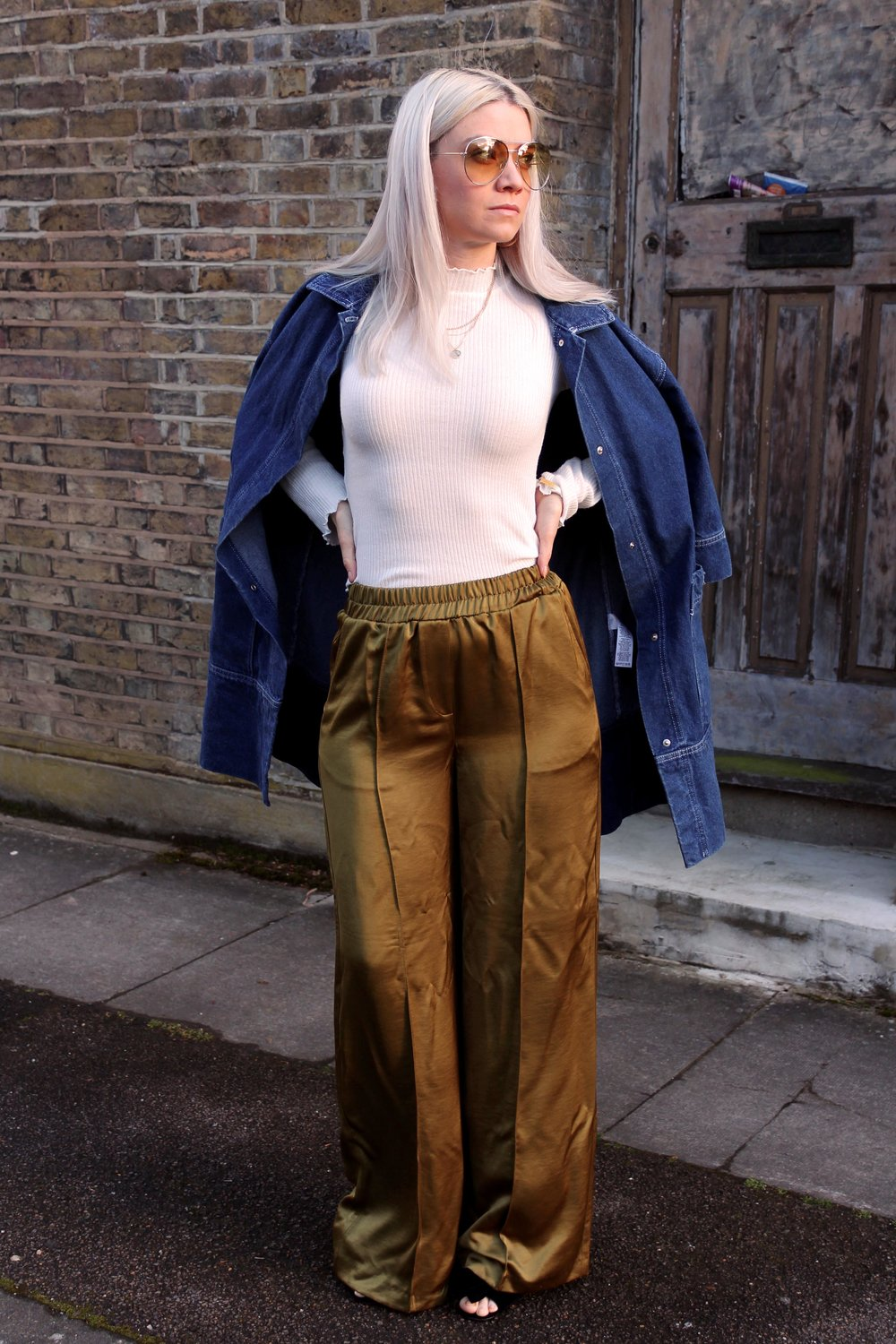 denim jacket, wide leg trousers, northern magpie, joey taylor