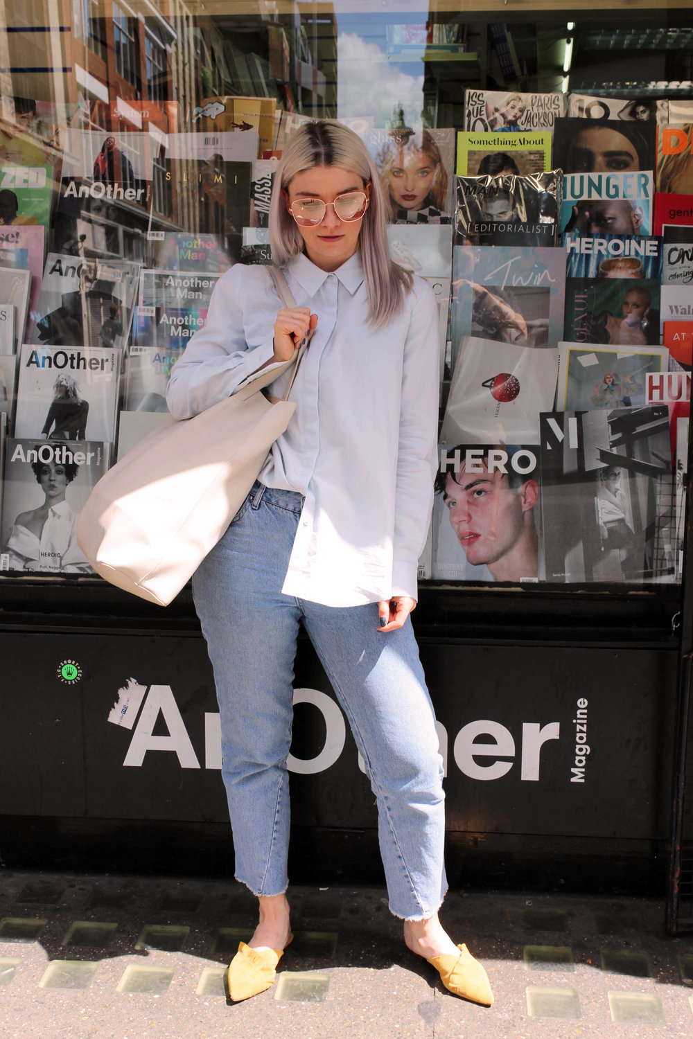 retro sunglasses, topshop jeans, baby blue shirt, suede mules, northern magpie
