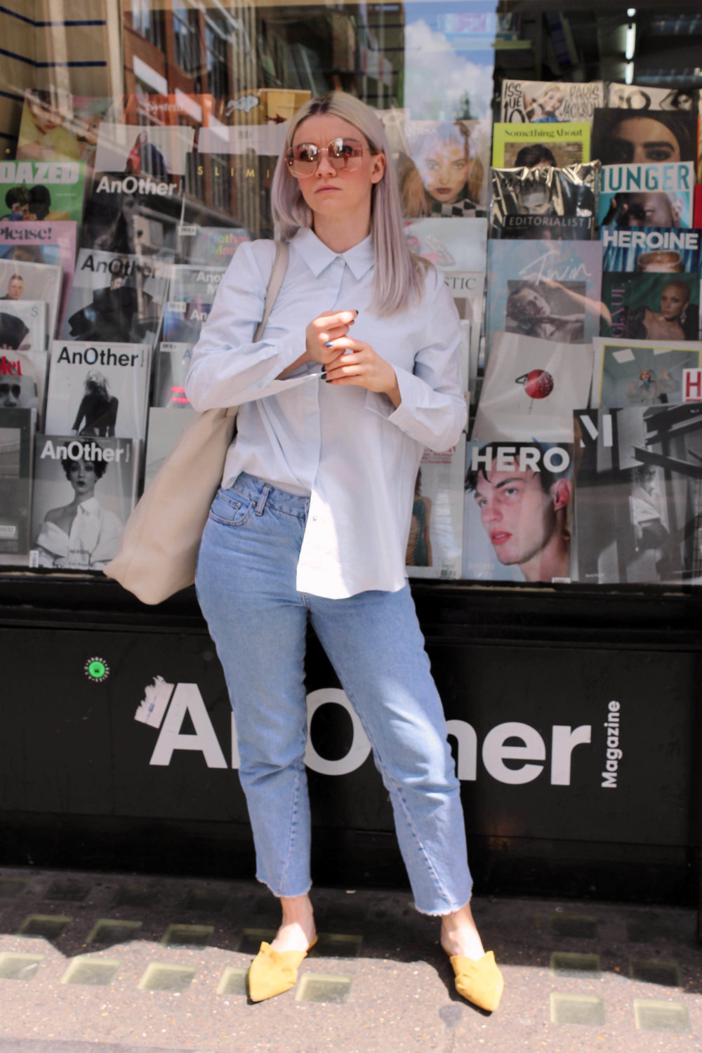 baby blue shirt, retro sunglasses, raw edge jeans, suede mules, northern magpie