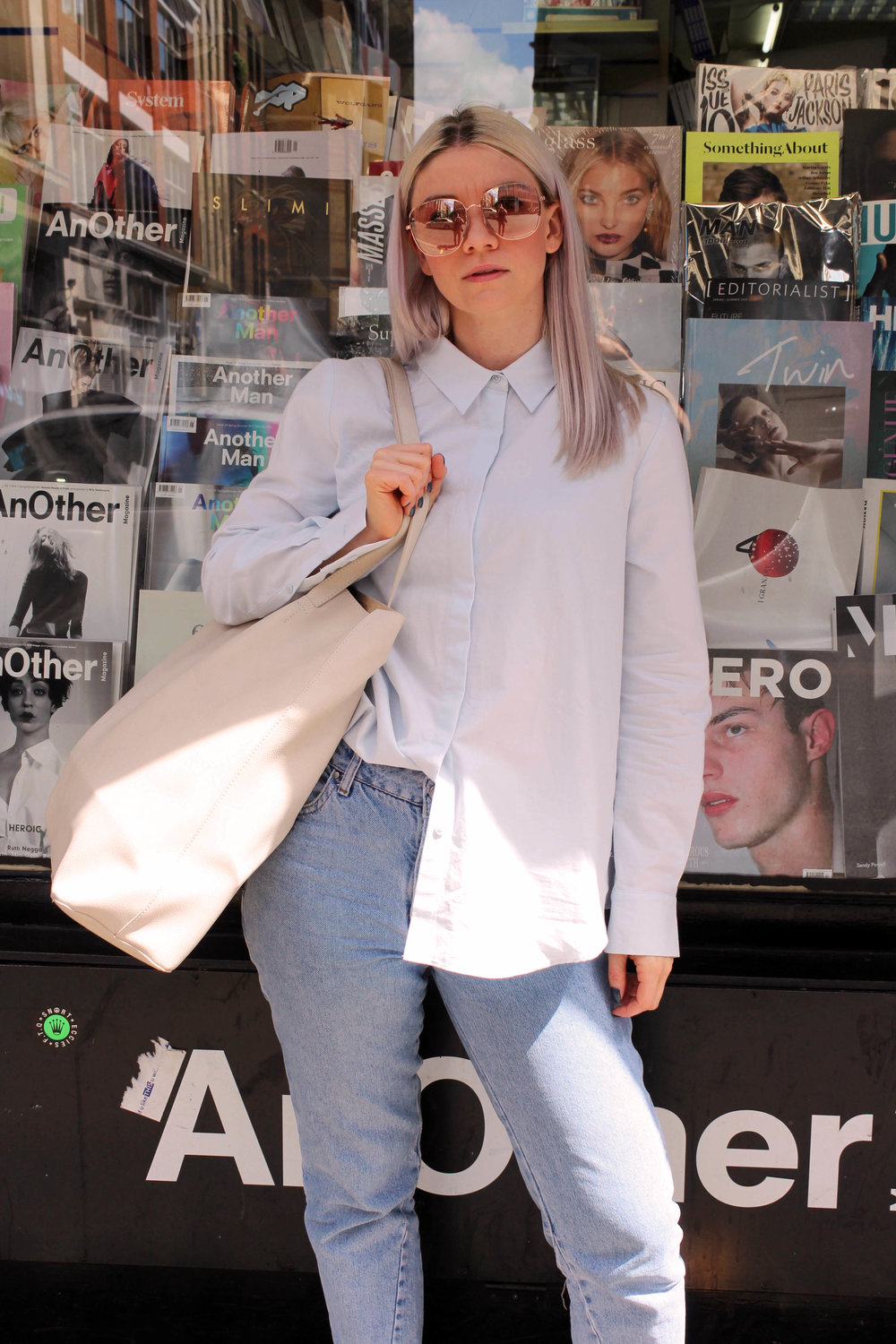 retro sunglasses, baby blue shirt, topshop jeans, northern magpie