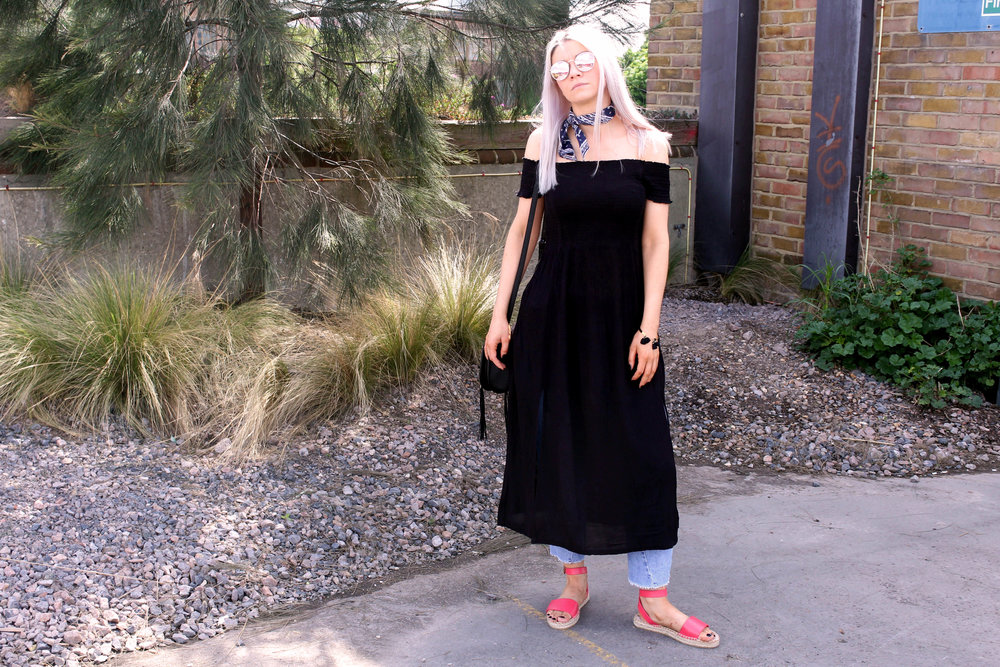 smocking dress, espadrilles, mirror sunglasses, saddle bag, superdry, northern magpie, joey taylor